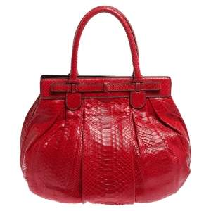 Zagliani Red Python Puffy Hobo
