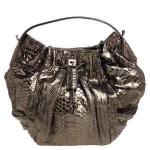 Zagliani Metallic Green Python Drawstring Hobo