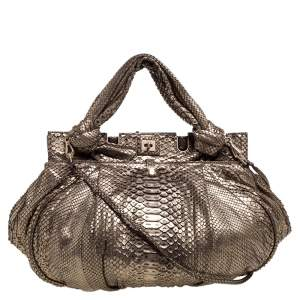 Zagliani Metallic Light Gold Python Knotted Handle Hobo