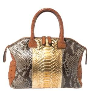 Zagliani Multicolor Python and Ostrich Mini Tomodachi Bag