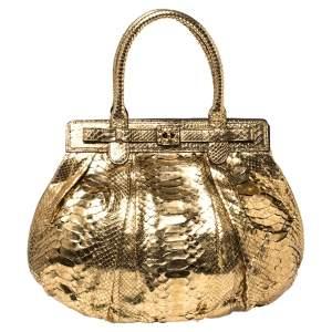 حقيبة هوبو زاغلياني منفوخة جلد ثعبان ذهبي ميتاليك