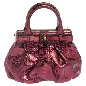 Zagliani Metallic Magenta Python Mini Puffy Bag