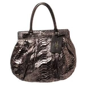 حقيبة هوبو زاغلياني منفوخة كبيرة جلد ثعبان ميتالك