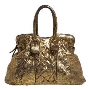 حقيبة يد زاغلياني سحاب علوي جلد ثعبان ذهبي ميتاليك