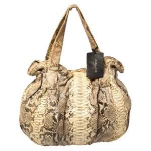 Zagliani Cream/Black Python Pleated Shoulder Bag