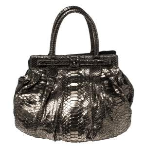 Zagliani Metallic Python Puffy Hobo