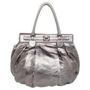 Zagliani Metallic Grey Pewter Satchel