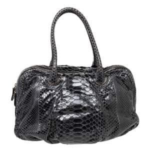 Zagliani Black Python Leather Satchel