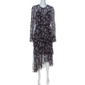 فستان زيمرمان شيفون أسود طباعة لافندر كشكشة مزينة L