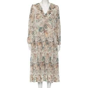 Zimmermann Beige Floral Printed Chiffon Pleated Maxi Dress M