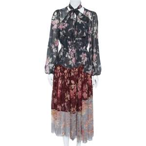 Zimmermann Multicolor Floral Printed Chiffon Pleated Unbridled Maxi Dress M