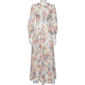 فستان ماكسي زيمرمان سموكيد بوي قطن أبيض مزخرف طباعة زهور مقاس متوسط - ميديوم