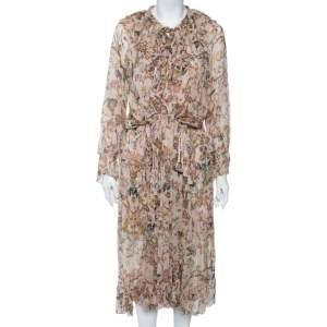Zimmermann Multicolor Printed Silk Ruffled Midi Dress M