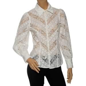 Zimmermann Ivory Embroidered Cotton & Lace Veneto Lantern Paneled Shirt S
