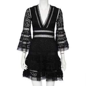 Zimmermann Black Eyelet Lace Laelia Diamond Mini Dress XS