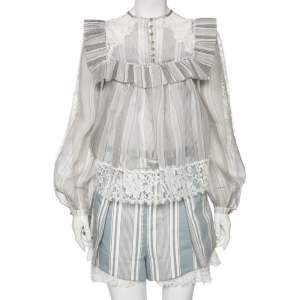 Zimmerman Grey/Blue Striped Cotton Havoc Lace Trimmed Shirt And Shorts Set S