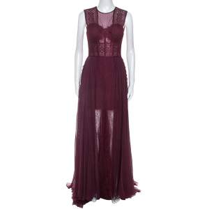 Zuhair Murad Burgundy Silk Blend Lace Bodice Evening Gown M