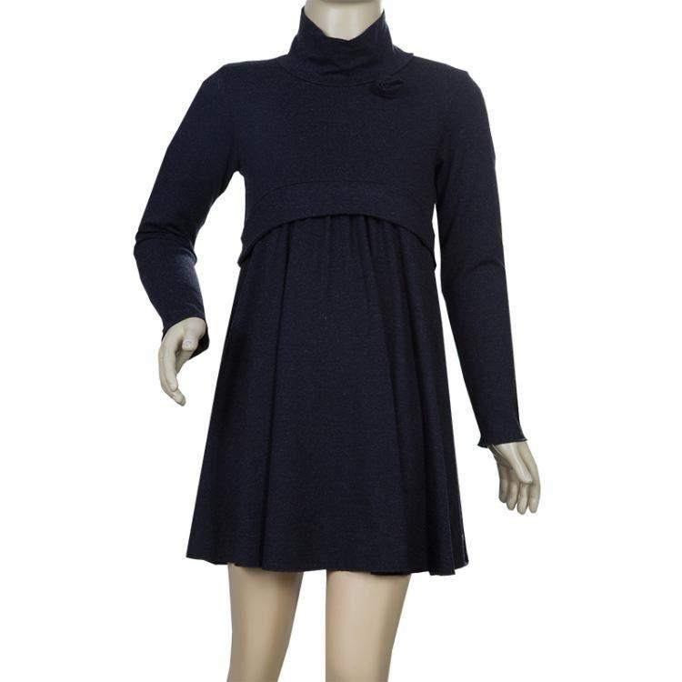 Armani Junior Charcoal Grey Turtleneck Long Sleeve Knit Dress 6 Yrs