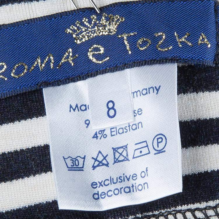 Roma e Tosca Monochrome Striped Capri Leggings 8 Yrs