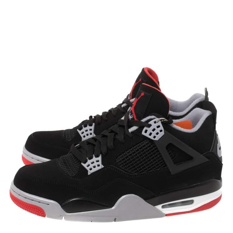 Air Jordan Black/Red Suede 4 Retro Bred 2019 Release Sneakers Size ...