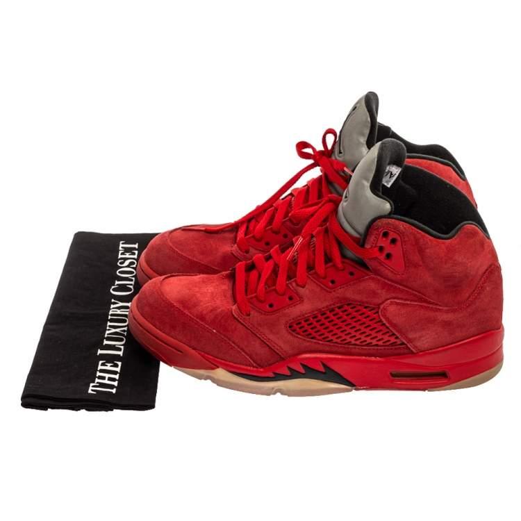 Air Jordan Red Suede Boys' 5 Retro Sneakers Size 42.5 Air Jordans ...