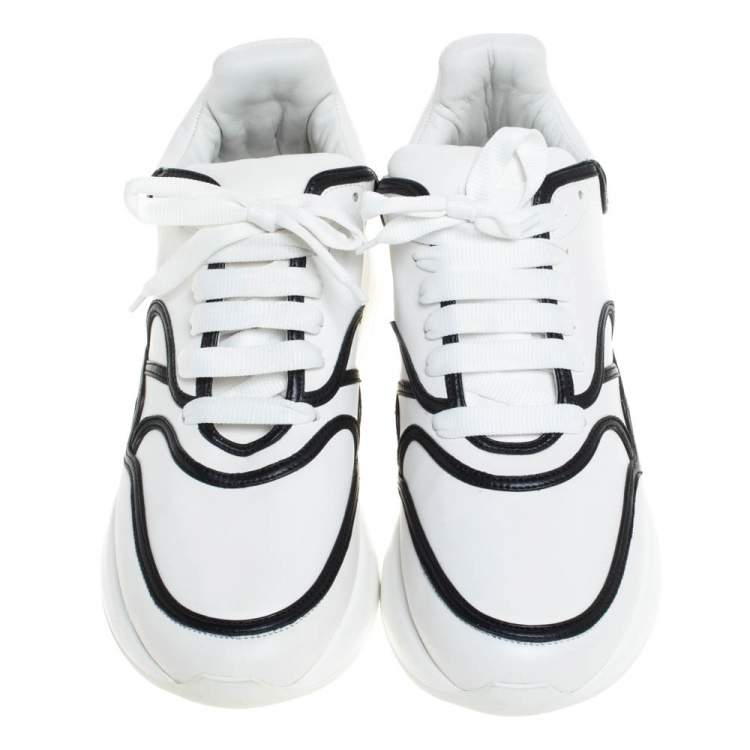 Alexander McQueen White/Black Trim Leather Oversized Runner Low Top Sneakers Size 44