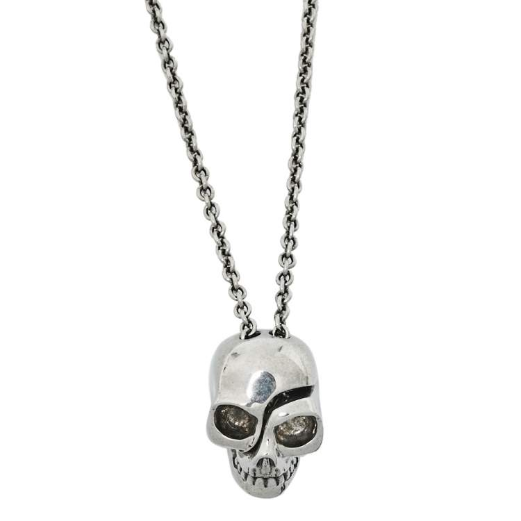 Alexander McQueen Divided Skull Silver Tone Long Chain Necklace