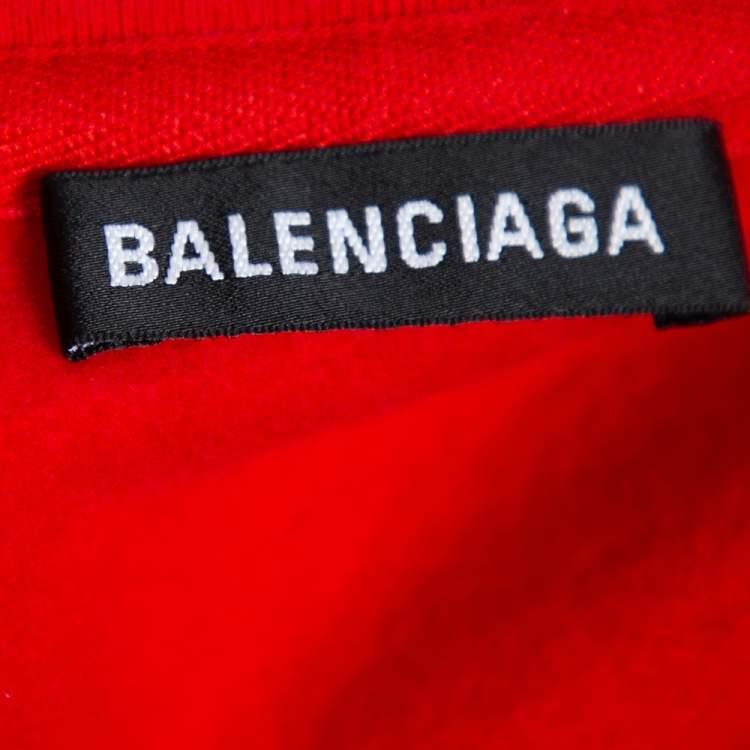 Balenciaga Red Cotton BB Address Embroidered Ski Sweater XS