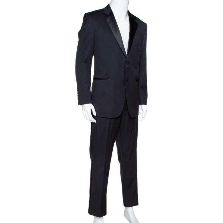 Balmain Black Wool Tuxedo Suit XXL