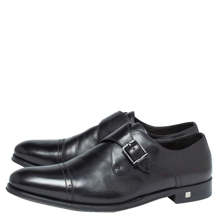 Balmain Black Leather Brogue Detail Single Monk Strap Shoes Size 41