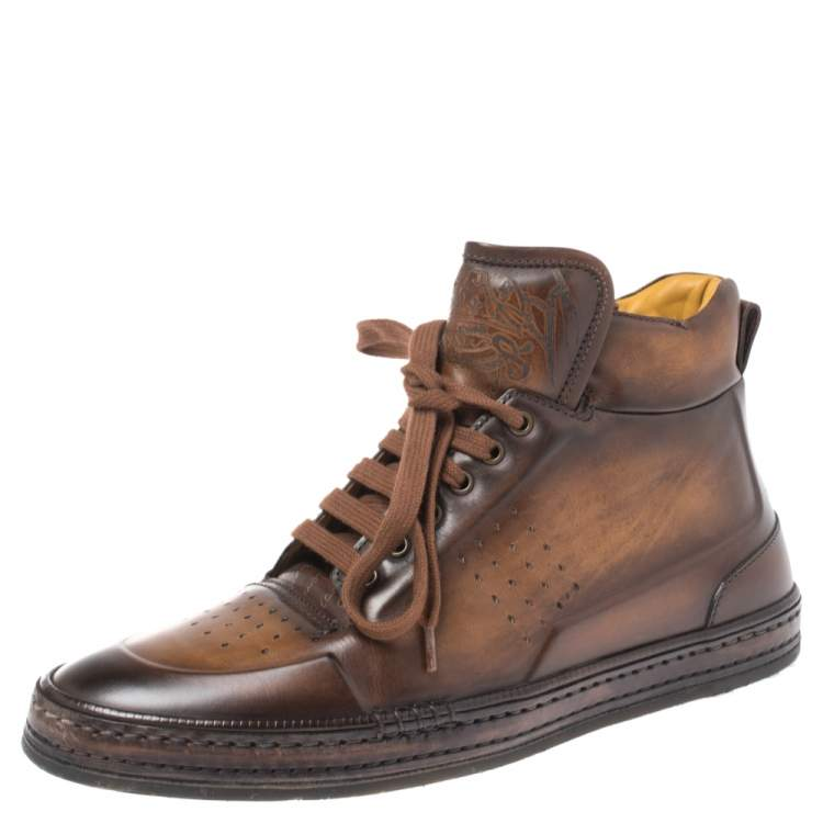 Berluti Brown Burnished Leather Playtime High Top Sneakers Size 43