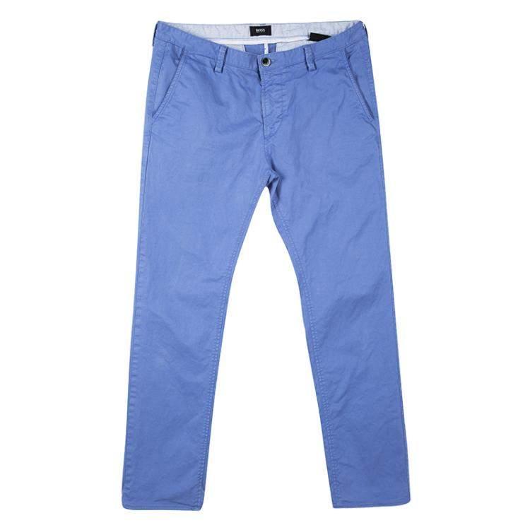 Boss By Hugo Boss Blue Cotton Stretch Rice 1-D Modern Essential Pants M