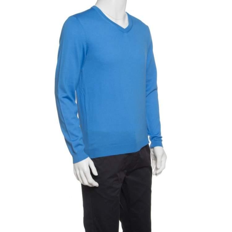 Boss By Hugo Boss Blue Extra Fine Merino Wool Slim Fit Baku-B Sweater M
