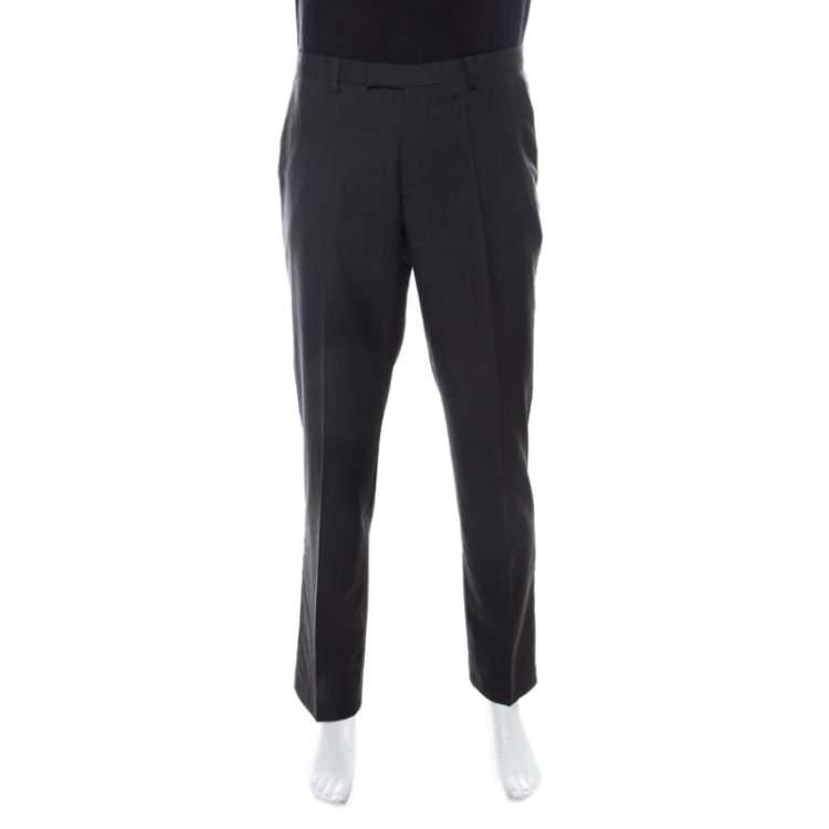 Boss By Hugo Boss Grey Wool Regular Fit Trousers L