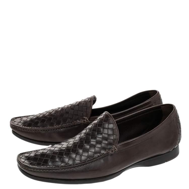 Bottega Veneta Brown Intrecciato Leather Loafers Size 41