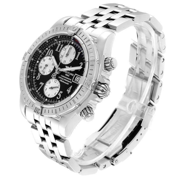 Breitling Black Stainless Steel Chronomat Evolution A13356 Men's Wristwatch 43.7MM