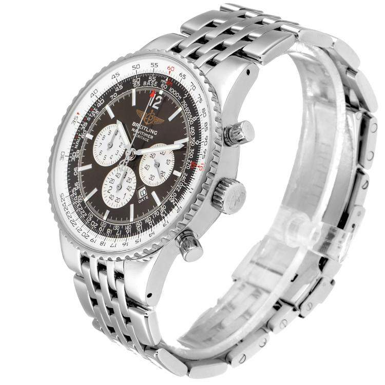 Breitling Black Stainless Steel Navitimer Heritage Automatic A35340 Men's Wristwatch 43 MM