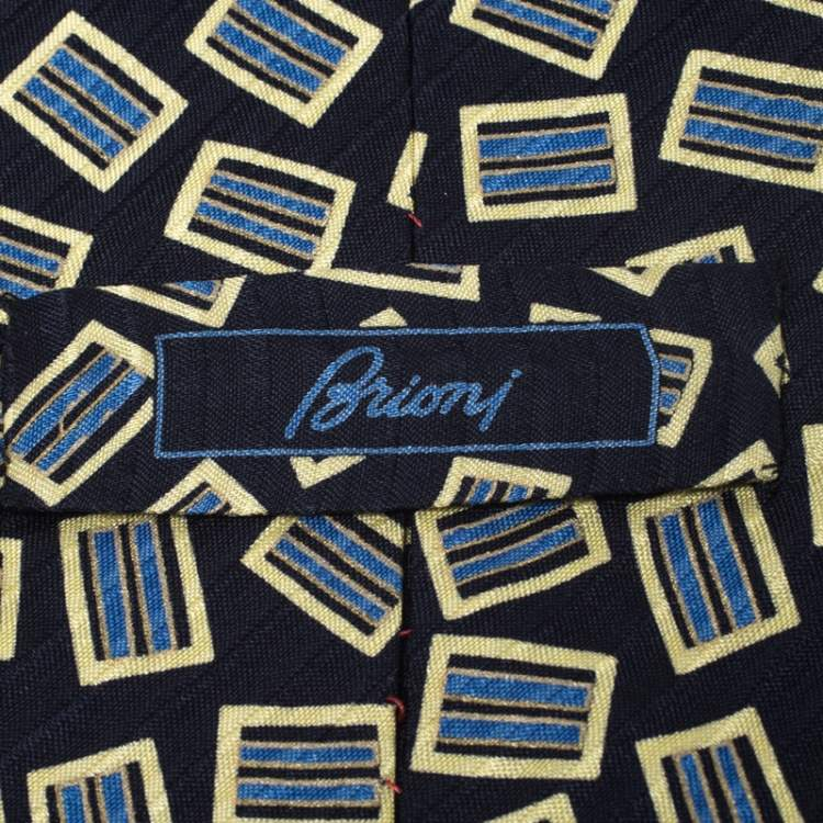Brioni Vintage Navy Blue & Yellow Printed Silk Traditional Tie