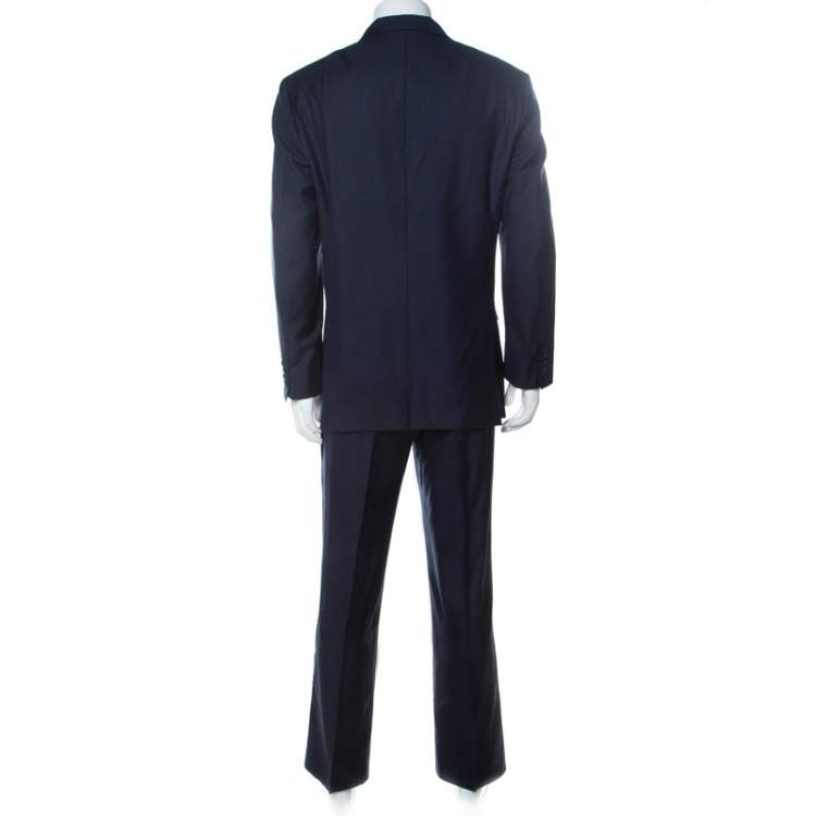 Brioni Navy Blue Wool and Silk Striped Parlamento Suit XXL