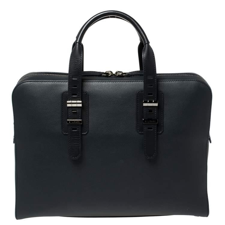 Bvlgari Deep Midnight Blue Leather Zip Briefcase
