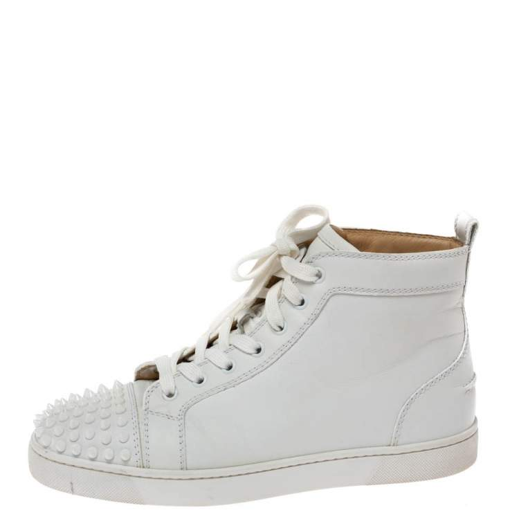 Christian Louboutin White Leather Louis Spikes High Top Sneakers Size 40