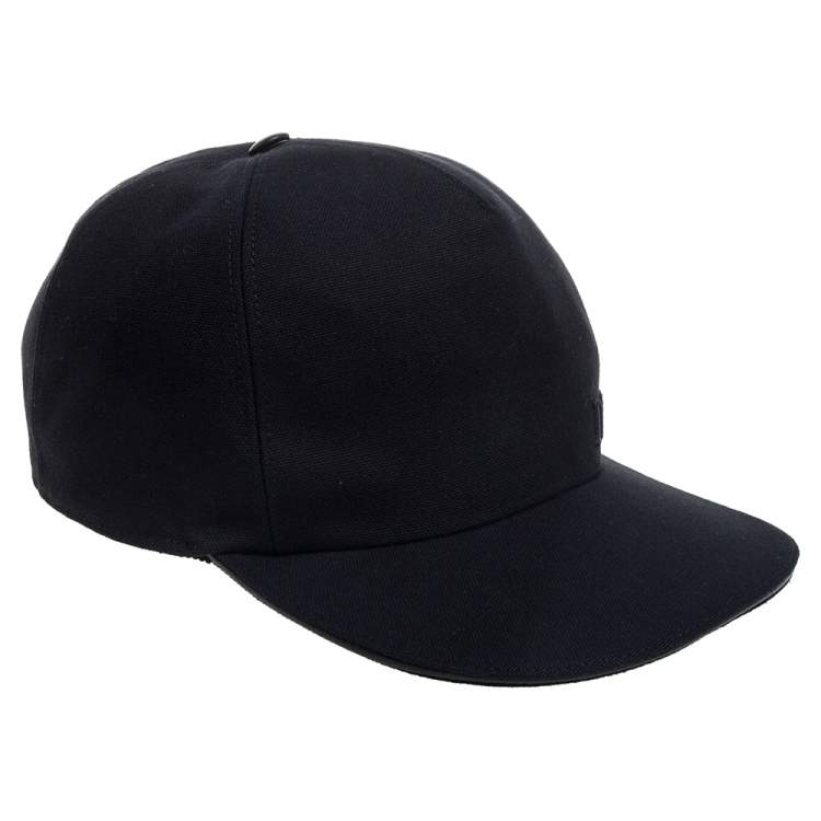 Dior Black Logo Embroidered Canvas Baseball Cap L