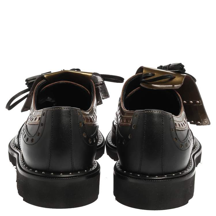 Dolce and Gabbana Black/Olive Patent Leather And Leather Brogue Detail Fringe Derby Oxfords Size 41