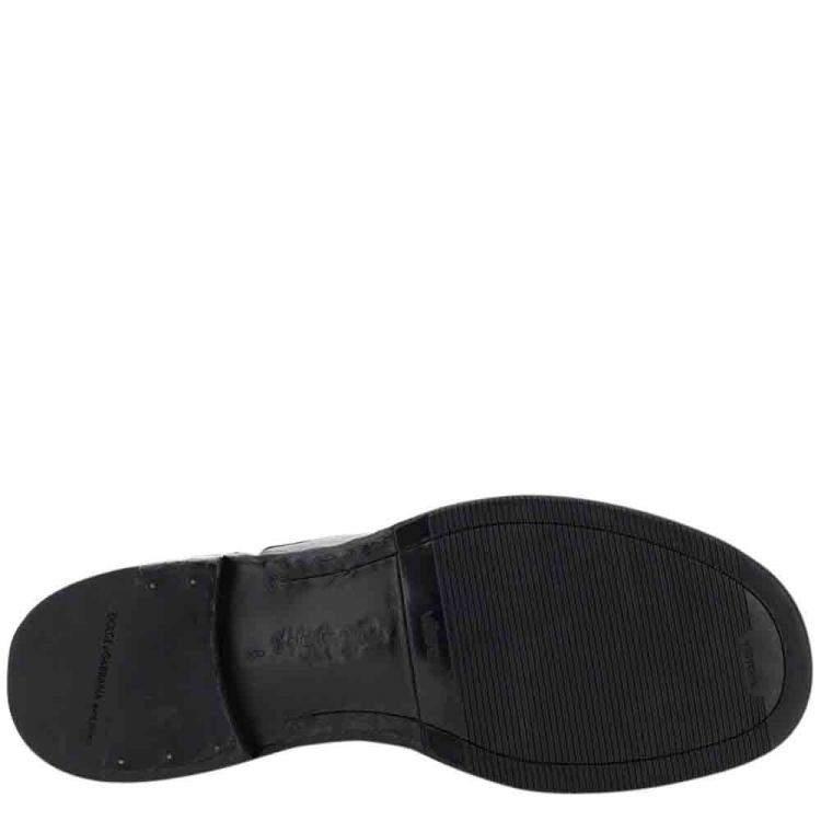 Dolce & Gabbana Black Horsehide Derby Lace-Up Shoes Size IT 43