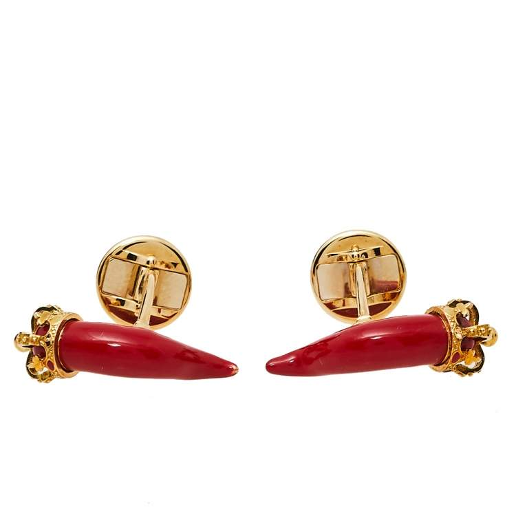 Dolce & Gabbana 18K Yellow Gold Red Enameled Good Luck Cufflinks