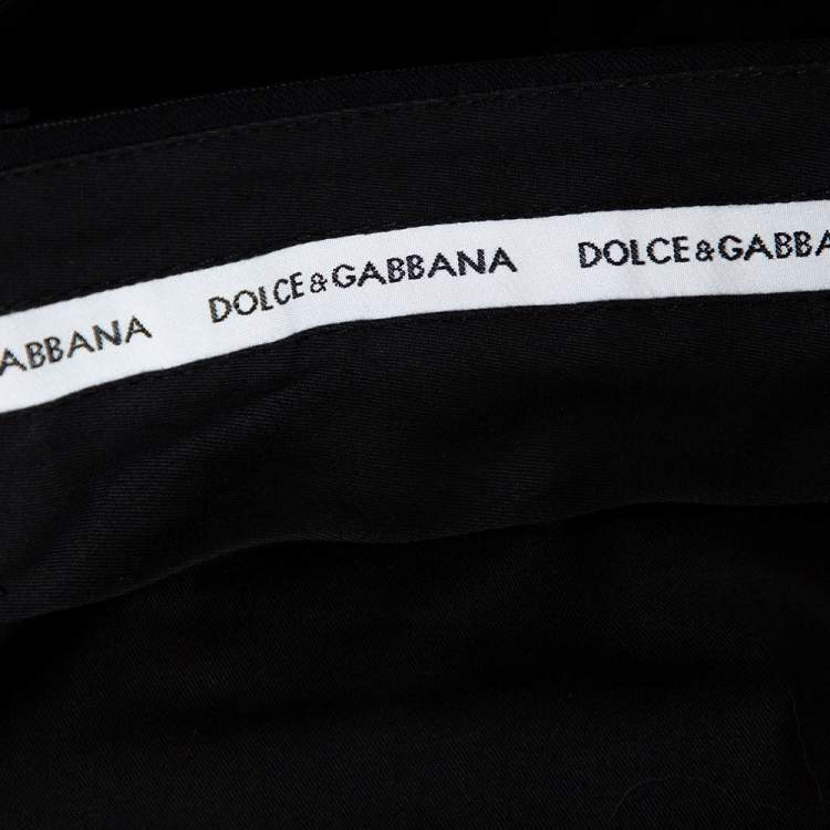 Dolce & Gabbana Black Pinstriped Wool Tailored Pants XS
