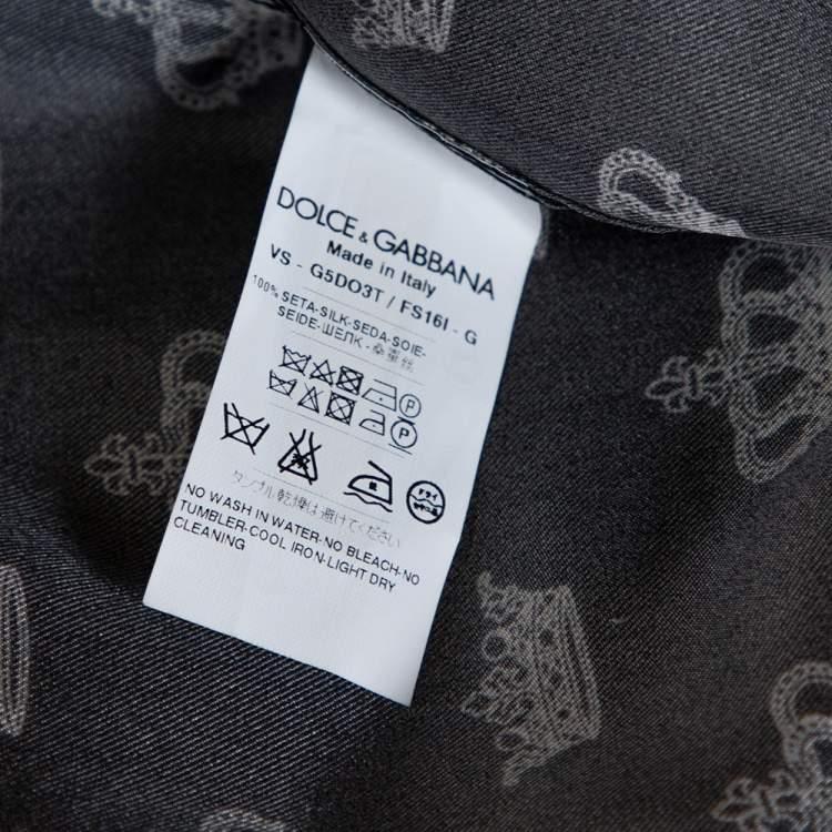Dolce & Gabbana Monochrome Silk Satin Crown Print Pyjama Shirt M