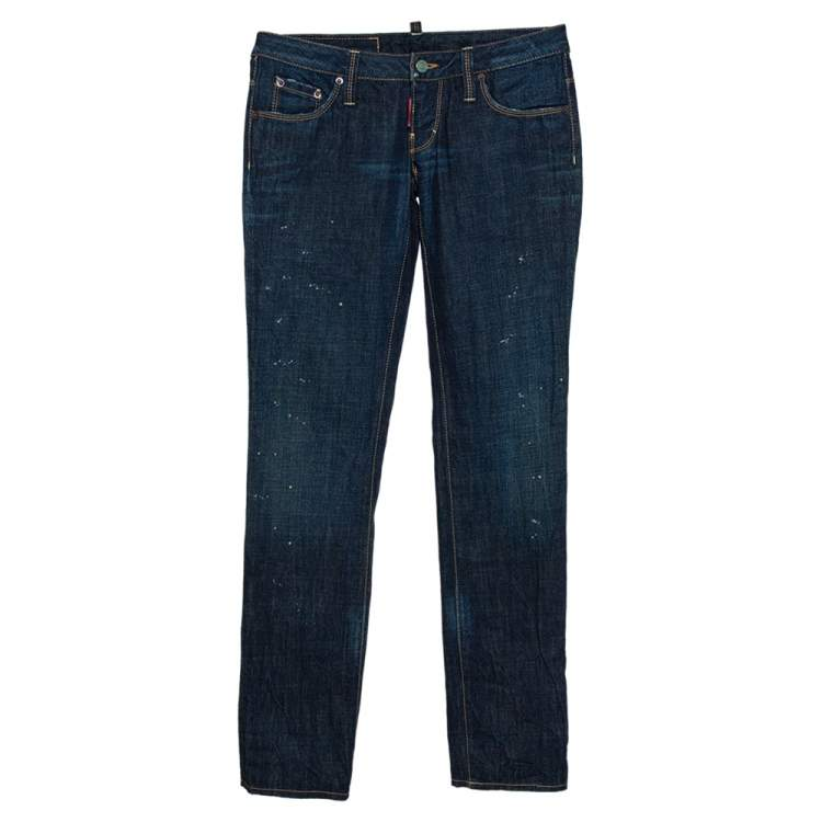Dsquared2 Indigo Denim Paint Splatter Effect Straight Leg Jeans S