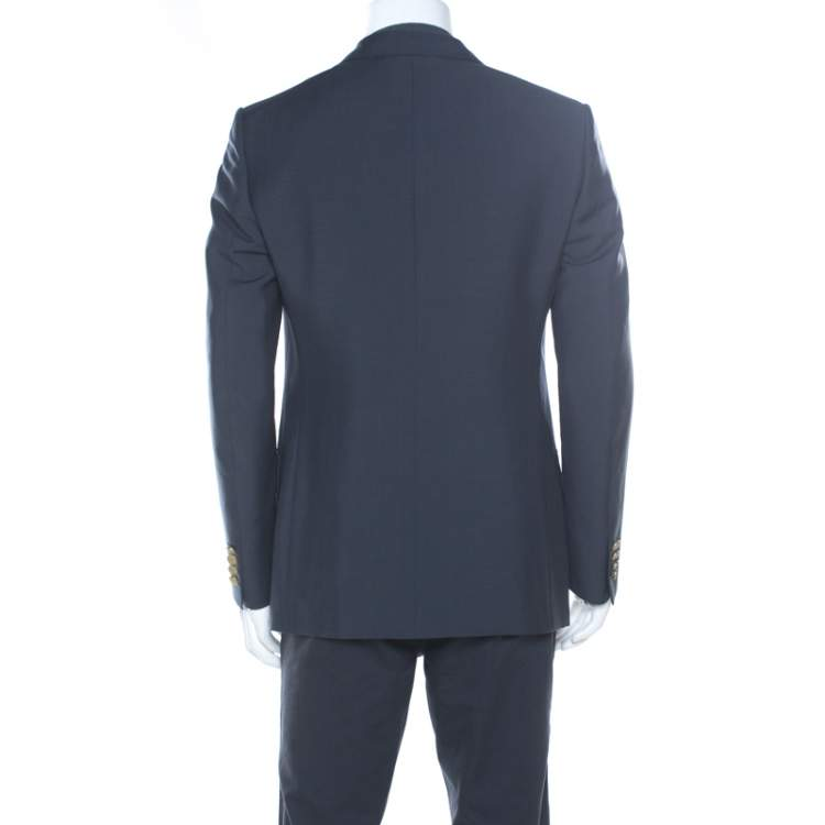 Dunhill Charcoal Grey Wool & Silk Blend Double Breasted Blazer L