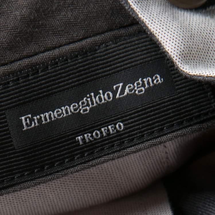 Ermenegildo Zegna Trofeo Grey Wool Slim Fit Trousers L